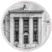 The United States Federal Reserve Bw Round Beach Towel