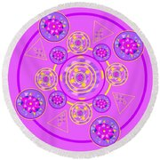 The Universal Spin Of Violet Round Beach Towel
