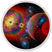 The Universe In A Perpetual State Round Beach Towel
