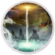 The Universe Of Dragons Round Beach Towel