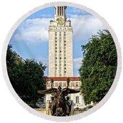 The University Of Texas Tower Round Beach Towel