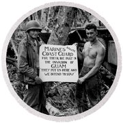The U.s. Marines Salute The U.s. Coast Round Beach Towel by Stocktrek Images