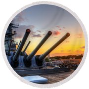 The Uss Missouri's Last Days Round Beach Towel