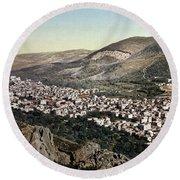The Vale Of Nablus Round Beach Towel