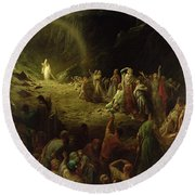 The Valley Of Tears Round Beach Towel by Gustave Dore