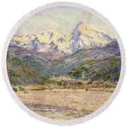 The Valley Of The Nervia, 1884  Round Beach Towel