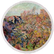 The Valley Of The Sedelle In Crozant Round Beach Towel by Jean Baptiste Armand Guillaumin