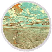 The Valley Of Winding Snake River Round Beach Towel