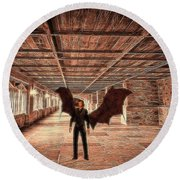 The Vampire Abode Round Beach Towel