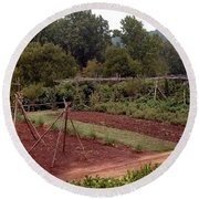 The Vegetable Garden At Monticello II Round Beach Towel