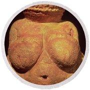 The Venus Of Willendorf Round Beach Towel