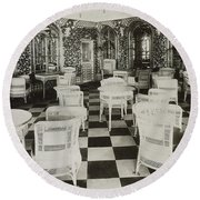The Verandah Cafe Of The Titanic Round Beach Towel by Photo Researchers