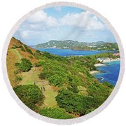 The View From Fort Rodney On Pigeon Island Gros Islet Blue Water Round Beach Towel