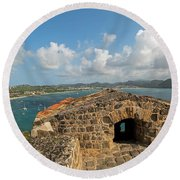 The View From Fort Rodney On Pigeon Island Gros Islet Caribbean Round Beach Towel