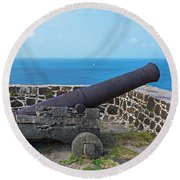 The View From Fort Rodney On Pigeon Island Gros Islet Saint Lucia Cannon Round Beach Towel