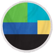 The View From Here- Modern Abstract Round Beach Towel