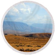 The View From Red Gulch Round Beach Towel