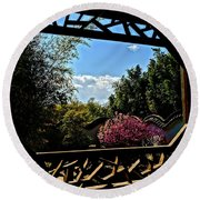 The View From The Window Round Beach Towel