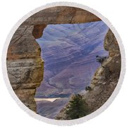 The  View Through The Angels'  Window Round Beach Towel