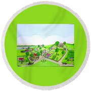 The Village - Colonial Style Art Round Beach Towel