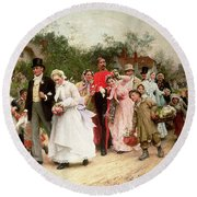 The Village Wedding Round Beach Towel