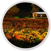 The Vines During Autumn Round Beach Towel
