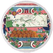 The Vineyards Of France Round Beach Towel