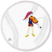 The Violin And The Girl Round Beach Towel