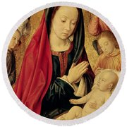 The Virgin And Child Adored By Angels  Round Beach Towel