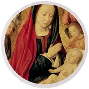 The Virgin And Child Adored By Angels  Round Beach Towel by Jean Hey