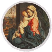The Virgin And Child Embracing Round Beach Towel by Giovanni Battista Salvi