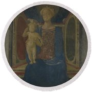 The Virgin And Child Enthroned Round Beach Towel