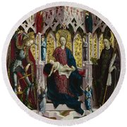 The Virgin And Child Enthroned With Angels And Saints Round Beach Towel