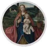 The Virgin And Child In A Landscape Round Beach Towel