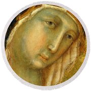 The Virgin And Child On A Throne Fragment 1311 Round Beach Towel