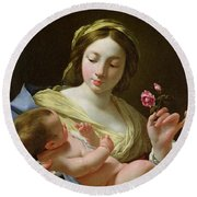 The Virgin And Child With A Rose Round Beach Towel