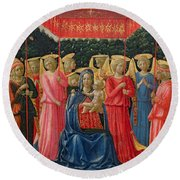 The Virgin And Child With Angels Round Beach Towel