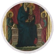 The Virgin And Child With Four Angels Round Beach Towel