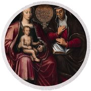 The Virgin And Child With Saint Anne Round Beach Towel