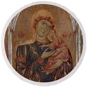 The Virgin And Child With Two Angels Round Beach Towel