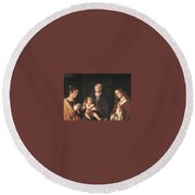 The Virgin And Child With Two Saints Prado Giovanni Bellini Round Beach Towel