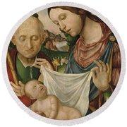 The Virgin And Saint Joseph  Adoring The Christ Child Round Beach Towel