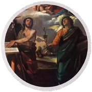 The Virgin Appearing To Saints John The Baptist And John The Evangelist 1520 Round Beach Towel