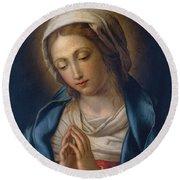 The Virgin At Prayer Round Beach Towel