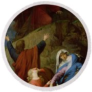 The Virgin Of Calvary Round Beach Towel by Jules Eugene Lenepveu