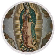 The Virgin Of Guadalupe With The Four Apparitions Round Beach Towel