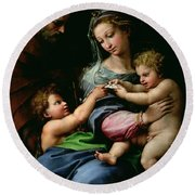 The Virgin Of The Rose Round Beach Towel
