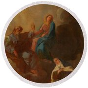 The Virgin Placing St Teresa Under The Protection Of St Joseph Round Beach Towel