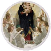 The Virgin With Angels Round Beach Towel