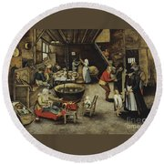 The Visit To The Farm Round Beach Towel